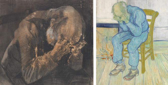 """Vincent van Gogh, Vecchio che soffre, 1882 matita, pastello litografico nero e acquerello bianco opaco su carta per acquerello, mm 445 x 471 Otterlo, Kröller-Müller Museum, the Netherlands e Vincent van Gogh, Vecchio che soffre (""""Alle porte dell'Eternità""""), 1890 olio su tela, cm 81,8 x 65,5"""