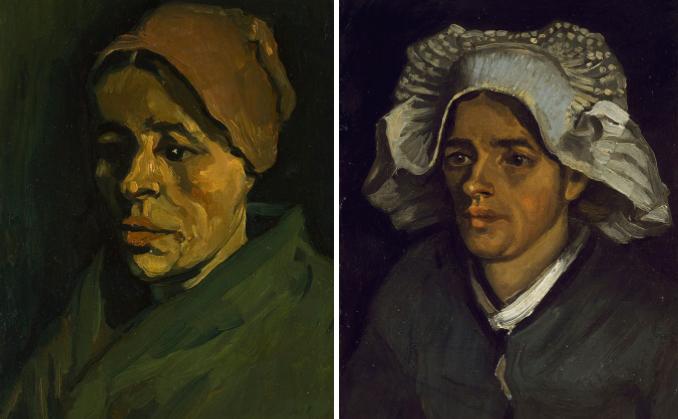 Vincent van Gogh, Testa di donna, 1884-1885 olio su tela, cm 42,5 x 33,1 e Vincent van Gogh, Testa di contadina con cuffia bianca, 1885 olio su tela applicata su cartone, cm 46,4 x 35,3 Edimburgo, Scottish National Gallery donato da Sir Alexander Maitland in memoria della moglie Rosalind 1960