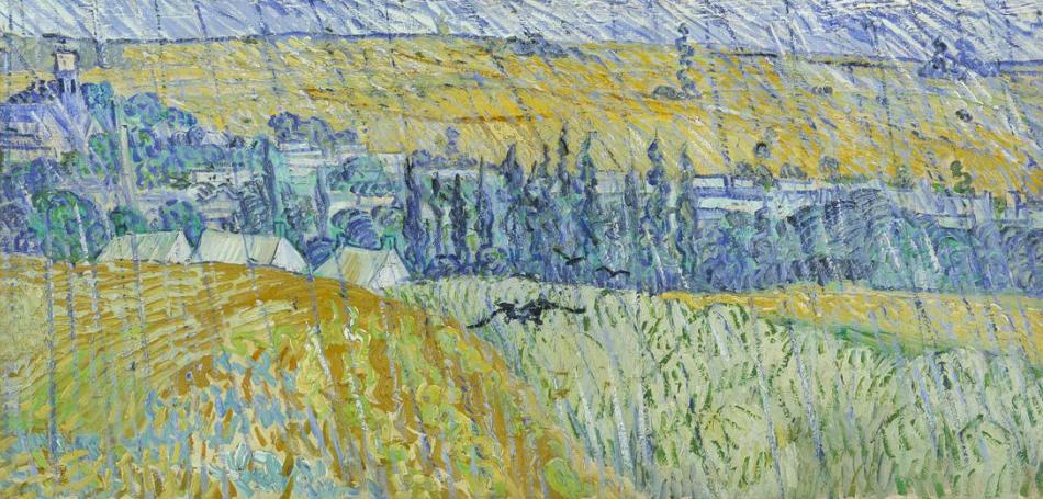 Vincent van Gogh, Paesaggio con la pioggia, Auvers, 1890 olio su tela, cm 50 x 100 Cardiff, Amgueddfa Genedlaethol Cymru