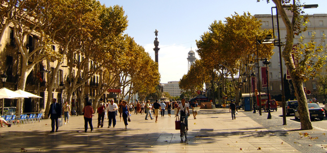 Centro di Barcellona in autunno