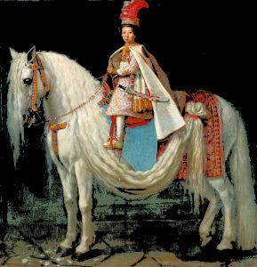 Giusto Suttermans (Anversa 1597 – Firenze 1681) Leopoldo de' Medici bambino a cavallo 1624-1625 circa olio su tela
