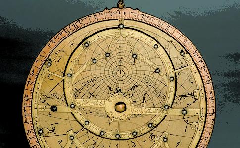 Manifattura araba Astrolabio XIII secolo ottone dorato, argento, rame
