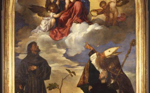 Tiziano Vecellio La Vergine con Bambino, San Francesco, San Biagio e il donatore Luigi Gozzi (Pala Gozzi) 1520 Olio su tavola cm 215x322