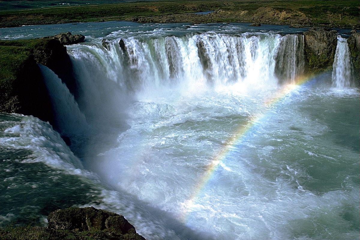 Giochi di luce di Godafoss, Islanda