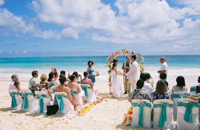 Cerimonia hawaiana in spiaggia
