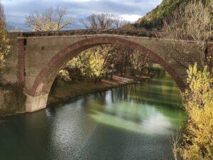 Itinerario Romantico, tramonto sul Ponte della Concordia di Fossombrone.