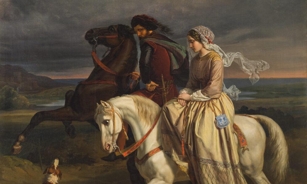 Dipinto con uomo e donna a cavallo.Fonte: Studio Esseci