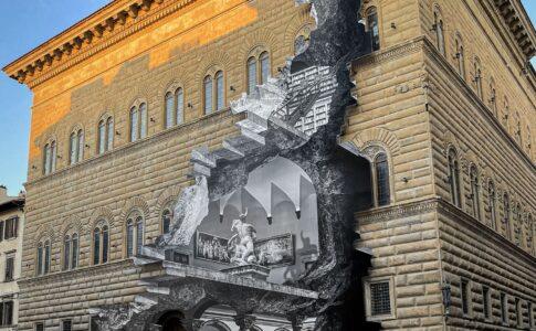 JR, La Ferita Installazione per la facciata di Palazzo Strozzi. 2021 Photo by JR