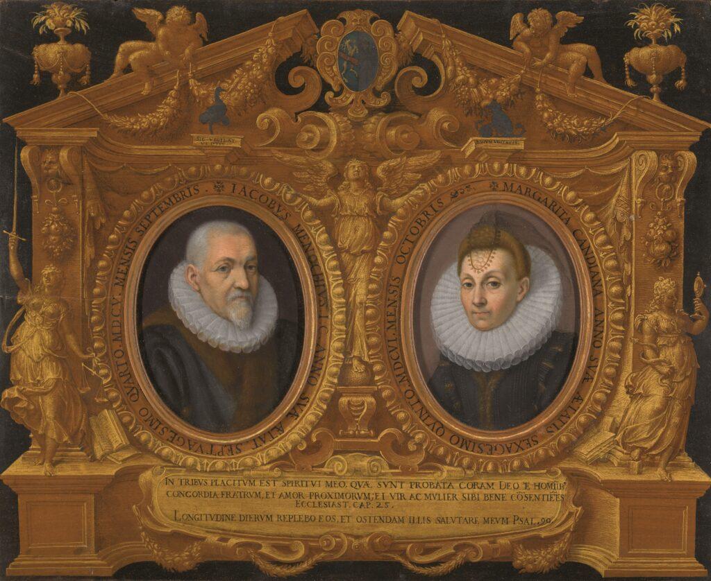 Cornice con i ritratti di Jacopo Menochio e Margherita Candiani Fonte: Castello del Buonconsiglio