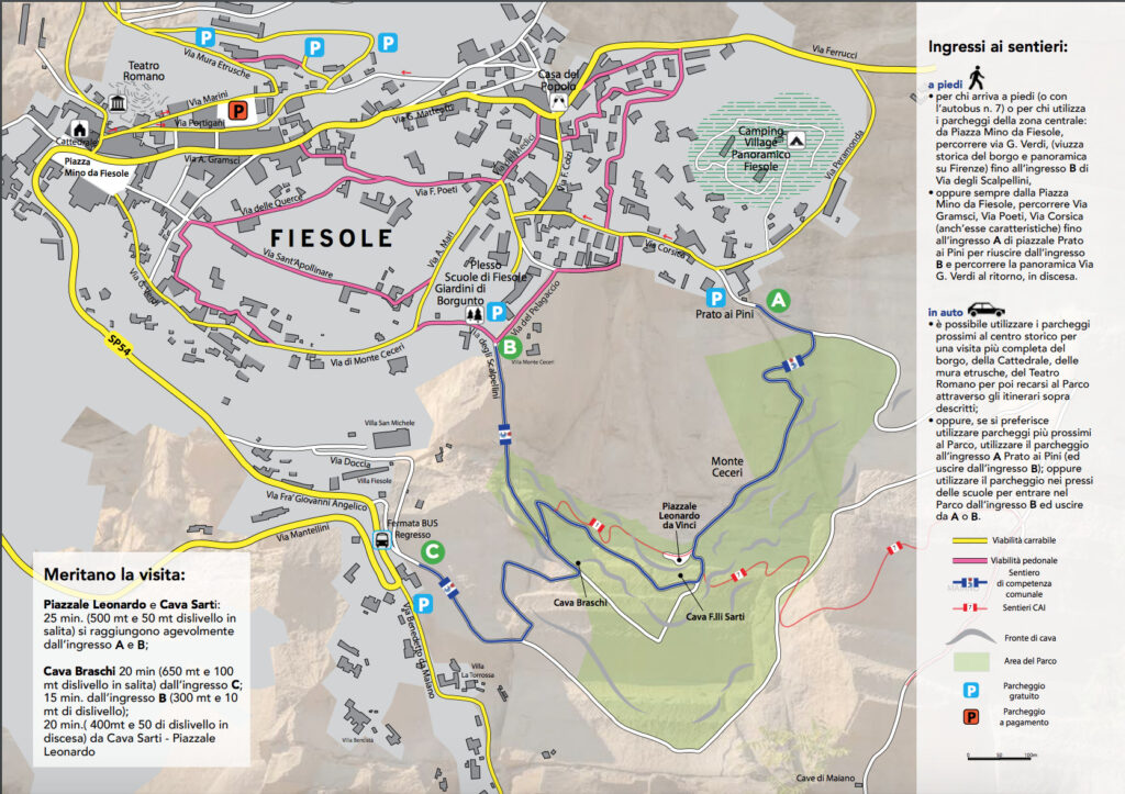Mappa Il sentiero della cave Fiesole Fonte: Feel Florence