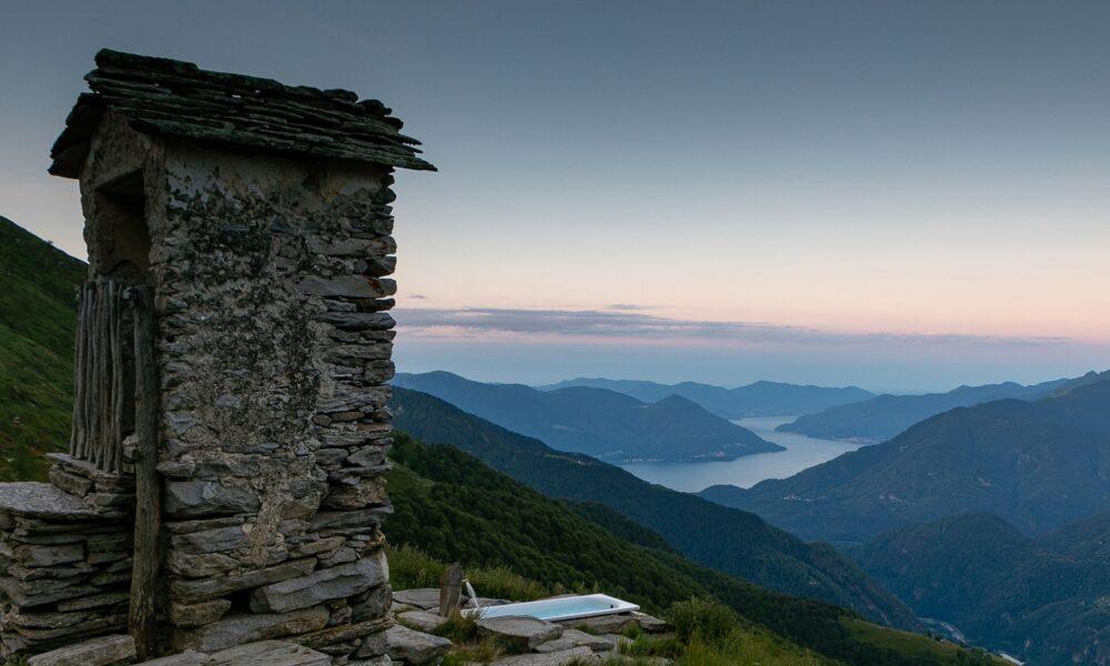 Alpe Nimi in Vallemaggia, tramonto. Via Ticino Turismo.
