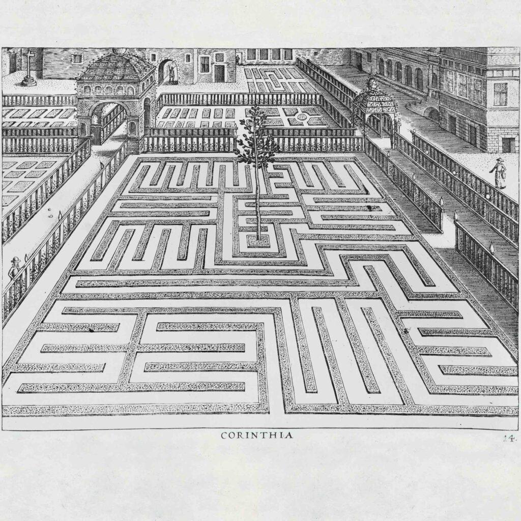 Jan Vredeman de Vries, Esempi di labirinti  da giardino, 1587. Fonte Labirinto del MAsone