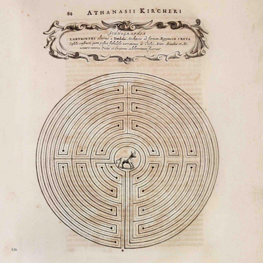Athanasius Kircher, Ricostruzione del  Labirinto di Creta, 1679