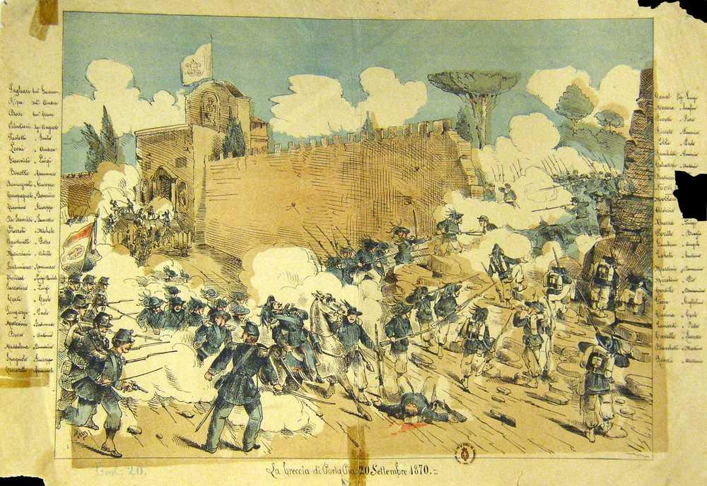 Breccia di Porta Pia Roma. Nascita di una capitale 1870-1915. PAlazzo Braschi, via Wikimedia Commons.