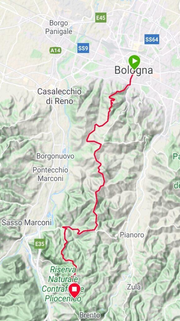 Da Bologna a Brento, nella variante da Ronzano (traccia GPS dell'autore).
