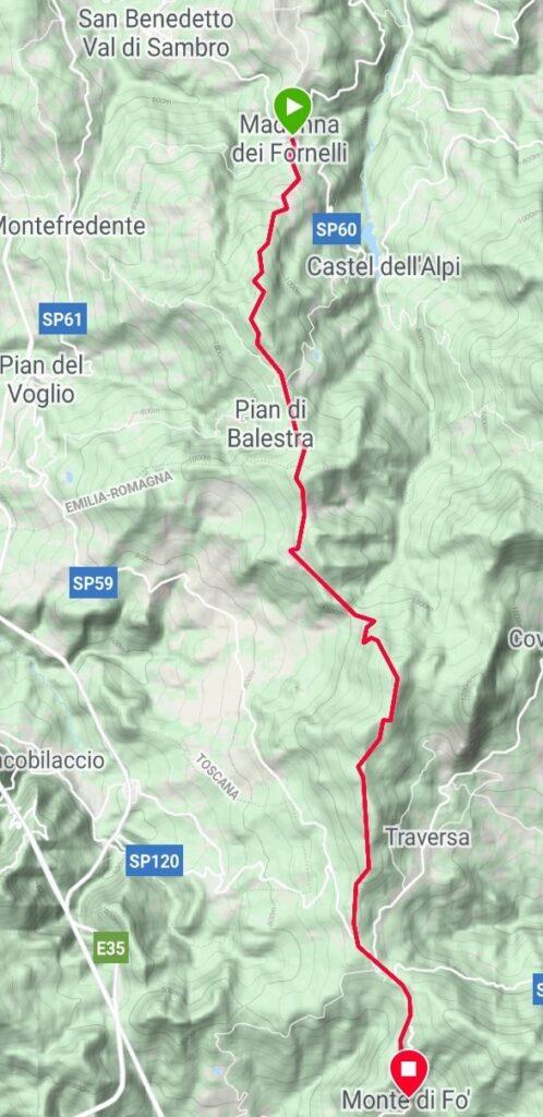 Da Madonna dei Fornelli a Monte di Fo' (traccia GPS dell'autore).