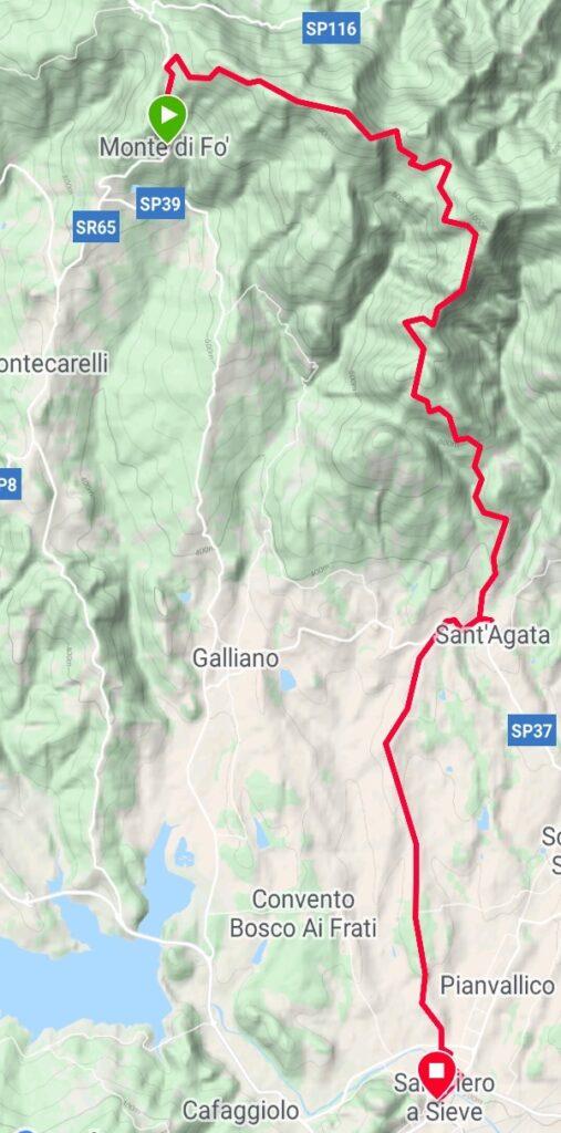 Da Monte di Fo' a San Piero a Sieve (traccia GPS dell'autore).