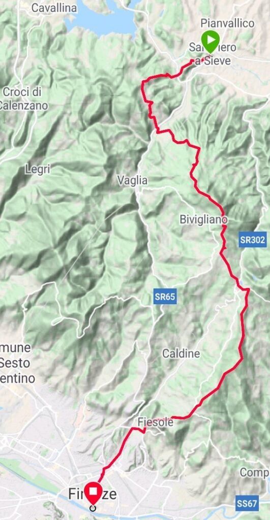 Da San Piero a Sieve a Firenze (traccia GPS dell'autore).