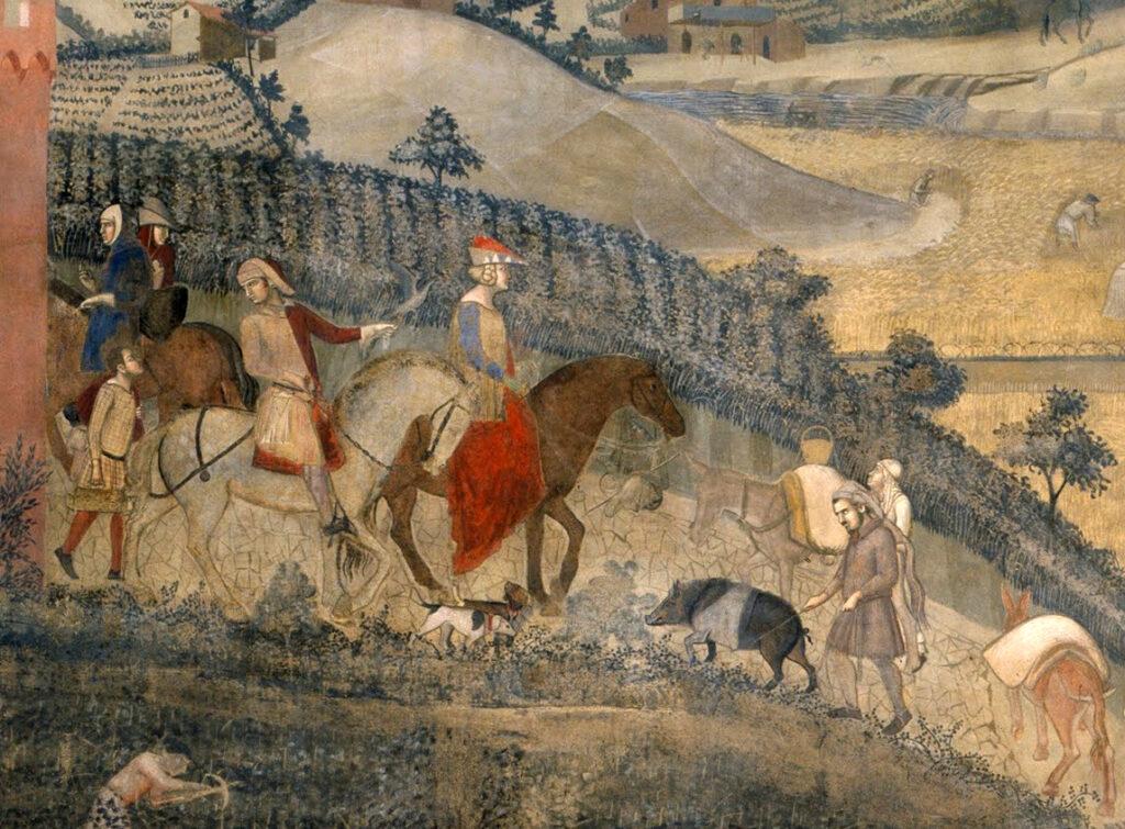 Gli Effetti del Buon governo (1338-40) di Ambrogio Lorenzetti. Via Terre di Siena.
