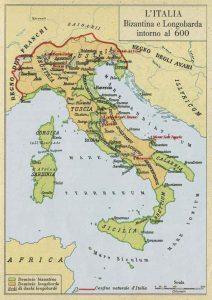 Italia bizantina e longobarda cartina
