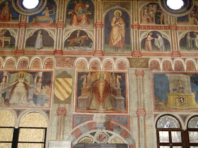 Gli affreschi a Palazzo della Ragione. Via Wikimedia Commons.